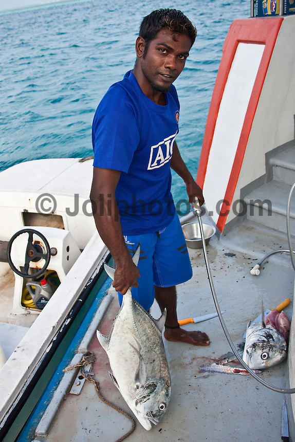 ADURE (MLD)  a crew member of the Vaagali MV preparing fish for dinner on a surfing boat trip in the Maldives (Thursday, June 11th, 2009). Photo: joliphotos.com