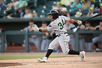 Left fielder Ismael Mungia (34) of the Augusta GreenJackets bats in a game against the Columbia Fireflies on Saturday, June 1, 2019, at Segra Park in Columbia, South Carolina. Columbia won, 3-2. (Tom Priddy/Four Seam Images)