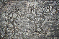Prehistoric Petroglyph, rock carving, of two schematic human figures with Norhtern Etruscan letters carved by the Camunni people in the ,iddle to late iron age between  900-1200 BC, Rock no 18, Seradina II area , Seradina-Bedolina Archaeological Park, Valle Comenica, Lombardy, Italy