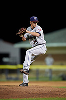 Mahoning Valley Scrappers relief pitcher Riley Echols (35) delivers a pitch during a game against the Batavia Muckdogs on August 16, 2017 at Dwyer Stadium in Batavia, New York.  Batavia defeated Mahoning Valley 10-6.  (Mike Janes/Four Seam Images)