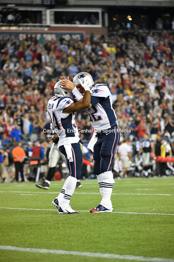 August 22, 2014 - Foxborough, Massachusetts, U.S.- New England Patriots quarterback Tom Brady (12) celebrates a touchdown with running back Shane Vereen (34) during the NFL pre-season game between the New England Patriots and the Carolina Panthers held at Gillette Stadium in Foxborough Massachusetts. The Patriots defeated the Panthers 30-7 in regulation time. Eric Canha/CSM