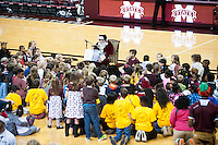 Santa Claus visited Humphrey Coliseum during the women's basketball team's tilt against Southern Miss on Wednesday [Dec. 16]. He read a story to dozens of children at halftime, spreading Christmas cheer on a night when the Lady Bulldogs prevailed over their in-state rival, 78-65.<br />