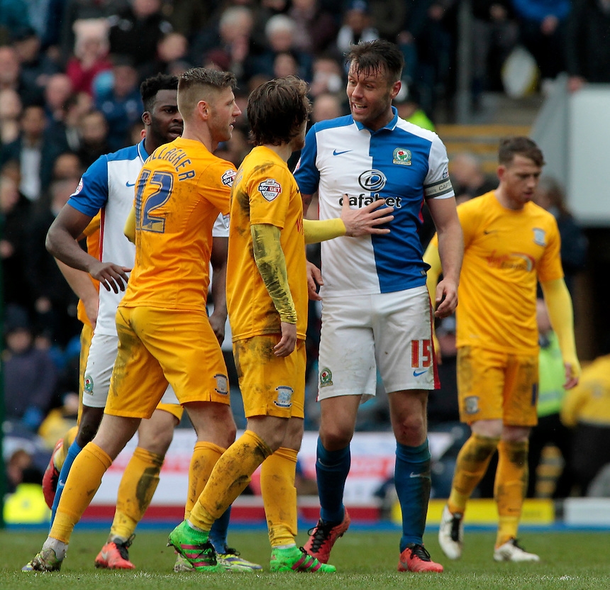 A fracas breaks out between Preston North End players and Blackburn Rovers' Elliott Ward<br /> <br /> Photographer David shipman/CameraSport<br /> <br /> Football - The Football League Sky Bet Championship - Blackburn Rovers v Preston North End - Saturday 2nd April 2016 - Ewood Park - Blackburn<br /> <br /> &copy; CameraSport - 43 Linden Ave. Countesthorpe. Leicester. England. LE8 5PG - Tel: +44 (0) 116 277 4147 - admin@camerasport.com - www.camerasport.com