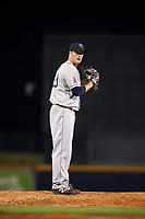 Mobile BayBears relief pitcher Conor Lillis-White (33) gets ready to deliver a pitch during a game against the Mississippi Braves on May 7, 2018 at Trustmark Park in Pearl, Mississippi.  Mobile defeated Mississippi 5-0.  (Mike Janes/Four Seam Images)