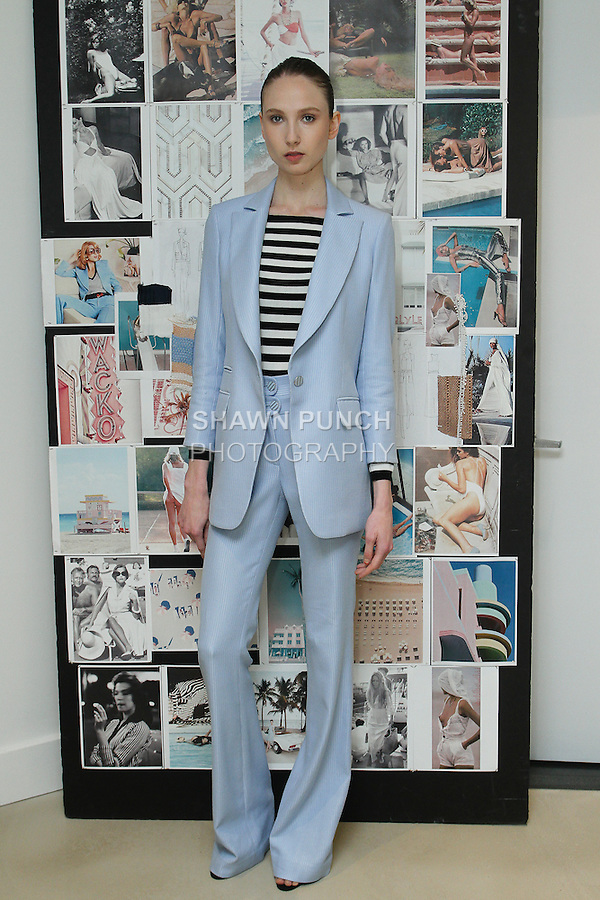 Model posing backstage at the Veronica Beard Spring Summer 2016 Fashion fashion show during New York Fashion Week Spring 2016 on September 15, 2016.