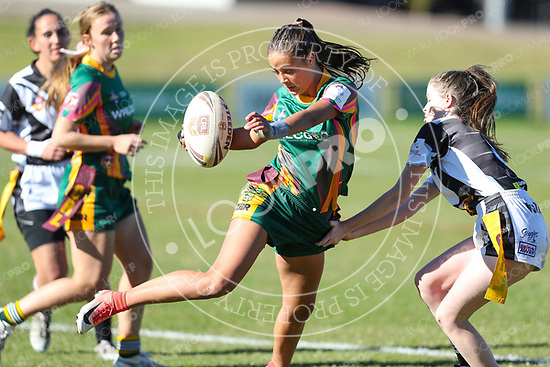 The Wyong Roos play Ourimbah Magpies in Round 13 of the Ladies League Tag Central Coast Rugby League Division at Morry Breen Oval on 8 July, 2017 in Kanwal, NSW Australia. (Photo by Paul Barkley/LookPro)