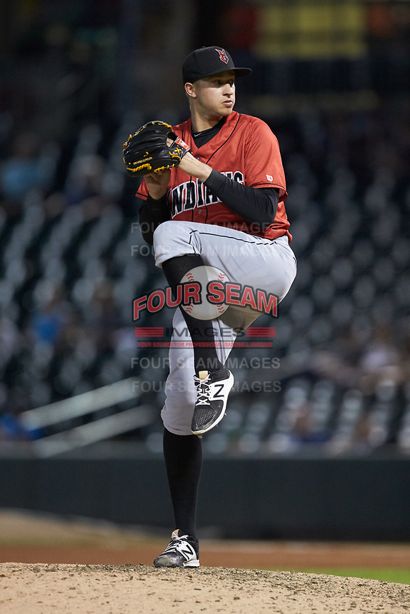 Indianapolis Indians relief pitcher Dovydas Neverauskas (39) in action against the Charlotte Knights at BB&T BallPark on May 26, 2018 in Charlotte, North Carolina. The Indians defeated the Knights 6-2.  (Brian Westerholt/Four Seam Images)