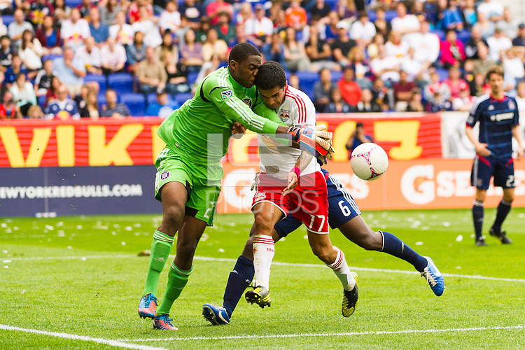 Tim Cahill (17) of the New York Red Bulls collides with Chicago Fire goalkeeper Sean Johnson (25) while going for the ball during a Major League Soccer (MLS) match at Red Bull Arena in Harrison, NJ, on October 06, 2012.
