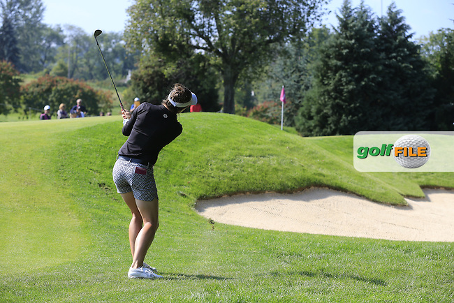 Joanna Klatten (FRA) chips into the 6th green during Friday's Round 2 of the LPGA 2015 Evian Championship, held at the Evian Resort Golf Club, Evian les Bains, France. 11th September 2015.<br /> Picture Eoin Clarke | Golffile