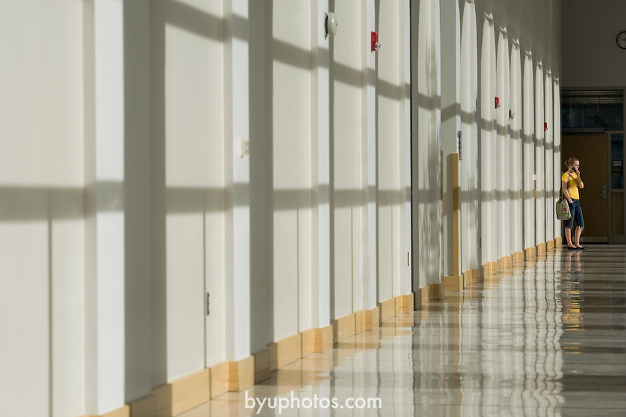 0704-01 GCS April 2007..BYU General Campus Scenics..JFSB Hallway with morning light..April 6, 2007..Photo by Jaren Wilkey/BYU..Copyright BYU Photo 2007.All Rights Reserved .photo@byu.edu  (801)422-7322