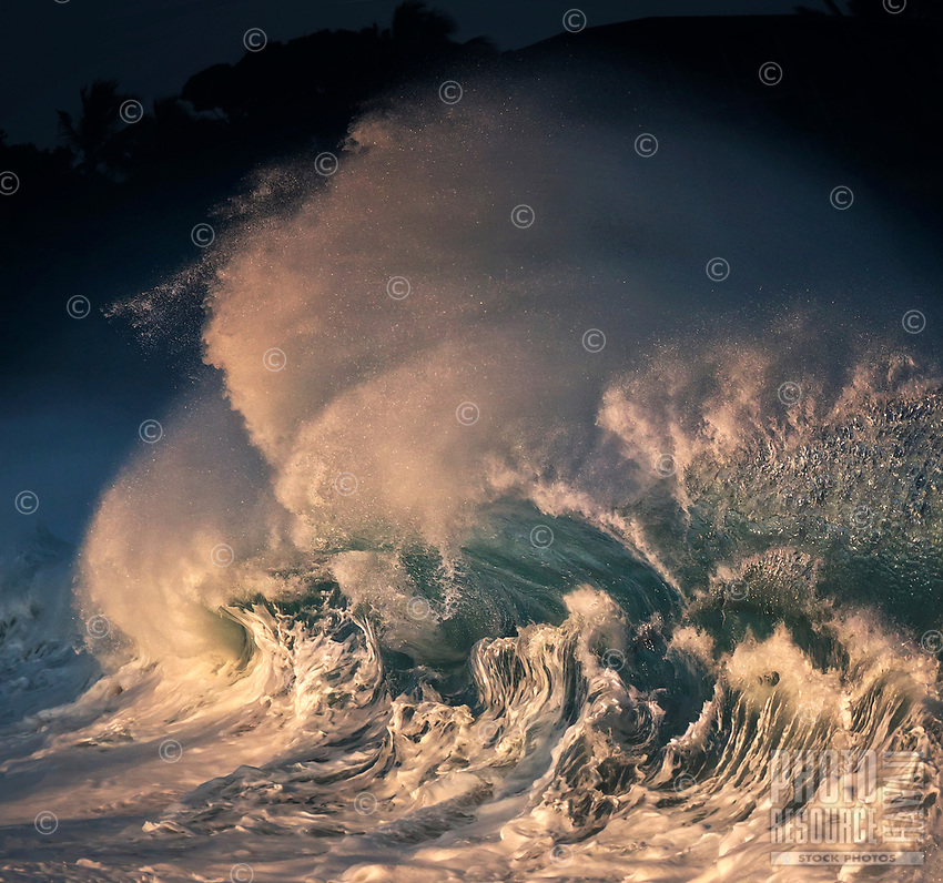 World-famous shore break winter waves, 20-plus feet, at Waimea Bay on the North Shore of O'ahu.