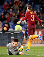 Calcio, Serie A: Roma vs Fiorentina. Roma, stadio Olimpico, 7 febbraio 2017.<br /> Roma&rsquo;s Edin Dzeko, right, celebrates after scoring his second goal as Fiorentina's goalkeeper Ciprian Tatarusanu reacts during the Italian Serie A soccer match between Roma and Fiorentina at Rome's Olympic stadium, 7 February 2017.<br /> UPDATE IMAGES PRESS/Riccardo De Luca