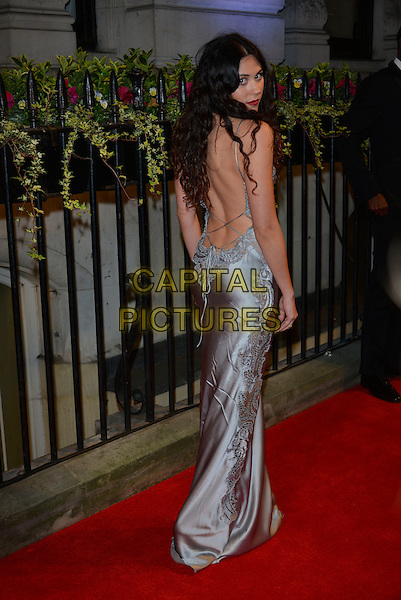 Eliza Doolittle<br /> BFI's 'Luminous' gala diner and auction, 8 Northumberland Avenue, London, England.<br /> 8th October 2013<br /> full length silver grey gray silk satin dress lace backless back behind rear looking over shoulder  <br /> CAP/PL<br /> &copy;Phil Loftus/Capital Pictures