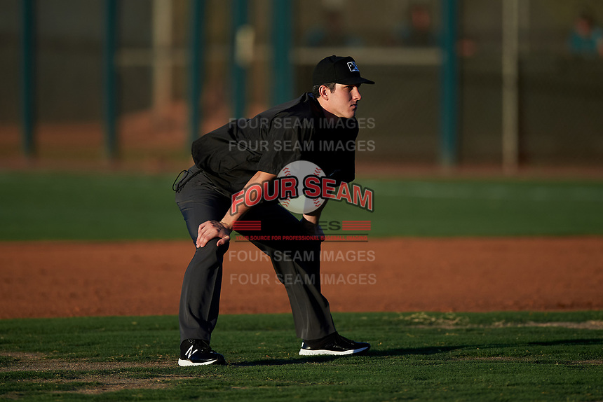 Umpire Austin Snow during an Arizona League game between the AZL Mariners and AZL D-backs on July 3, 2019 at Salt River Fields at Talking Stick in Scottsdale, Arizona. The AZL D-backs defeated the AZL Mariners 3-1. (Zachary Lucy/Four Seam Images)