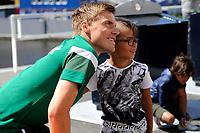 GRONINGEN - Voetbal, Open dag FC Groningen ,  seizoen 2017-2018, 06-08-2017,  op de foto met FC Groningen speler Ruben Ettergard Jenssen