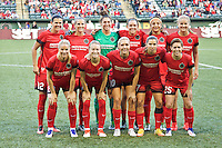 Portland, Oregon - Sunday September 11, 2016: The Portland Thorns Starting Eleven during a regular season National Women's Soccer League (NWSL) match at Providence Park.