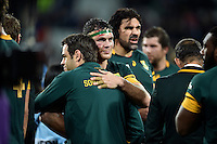 Francois Louw of South Africa embraces Springboks assistant coach Johann van Graan after the match. Rugby World Cup Bronze Final between South Africa and Argentina on October 30, 2015 at The Stadium, Queen Elizabeth Olympic Park in London, England. Photo by: Patrick Khachfe / Onside Images