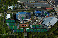 aerial photograph of the USTA Billie Jean King National Tennis Center, the Arthur Ashe Stadium, Flushing Meadows, Corona Park, Queens, New York