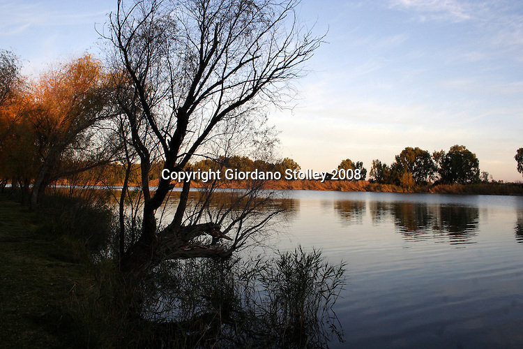 DOUGLAS, NORTHERN CAPE - 16 June 2008 - Dusk over the Vaal River at the municipal camp ground of the small Northen Cape town of Douglas, a few kilometres from where it joins the Orange River..Picture: Giordano Stolley/ Allied Picture Press/ APP