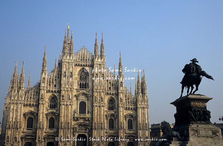 Statue outside the Duomo di Milano, Milan, Italy.