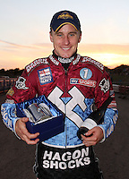 Lee Richardson with his Lakeside Hammers Rider of the Month award - Lakeside Hammers vs Swindon Robins, Elite League Speedway at the Arena Essex Raceway, Purfleet - 03/09/10 - MANDATORY CREDIT: Rob Newell/TGSPHOTO - Self billing applies where appropriate - 0845 094 6026 - contact@tgsphoto.co.uk - NO UNPAID USE.