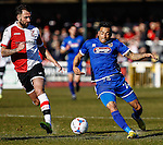 Nathan Arnold of Grimsby Town (right) in action during the Vanamara Conference League match between Woking and Grimsby Town at the Kingfield Stadium, Woking, Surrey<br /> Picture by David Horn/eXtreme aperture photography +44 7545 970036<br /> 07/03/2015