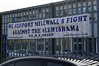A banner on the fence outside Millwall FC with the words 'We Support Millwall's fight against the Lewisham4' during Millwall vs Barnsley, Emirates FA Cup Football at The Den on 6th January 2018