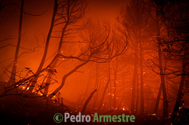 General view of the wild fire in Torre de Macanes during a forest fire near Alicante, on August 13, 2012. One person was killed and three injured Sunday as firefighters battled wildfires across Spain, authorities said, the latest victims in a sweltering summer of forest blazes. (c) Pedro ARMESTRE