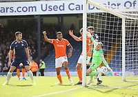 Blackpool's first goal, an own goal by Southend United's Harry Lennon<br /> <br /> Photographer Rob Newell/CameraSport<br /> <br /> The EFL Sky Bet Championship - Southend United v Blackpool - Saturday 10th August 2019 - Roots Hall - Southend<br /> <br /> World Copyright © 2019 CameraSport. All rights reserved. 43 Linden Ave. Countesthorpe. Leicester. England. LE8 5PG - Tel: +44 (0) 116 277 4147 - admin@camerasport.com - www.camerasport.com
