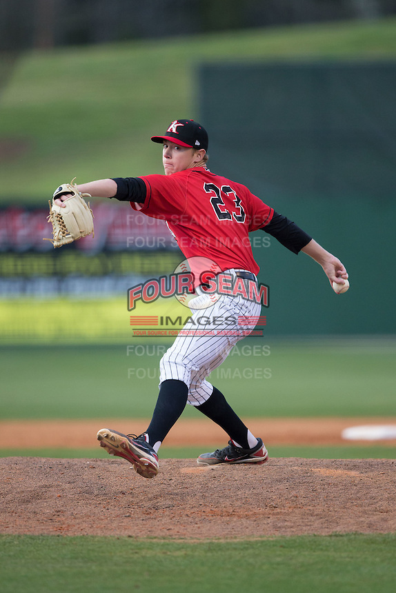 Kannapolis Intimidators relief pitcher Matt Ball (23) in action against the Hickory Crawdads at Kannapolis Intimidators Stadium on April 10, 2016 in Kannapolis, North Carolina.  The Intimidators defeated the Crawdads 10-3.  (Brian Westerholt/Four Seam Images)