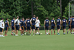 28 May 2012: Head coach Bruce Arena (center) talks with the players. The Los Angeles Galaxy held a training session on Field 6 at WakeMed Soccer Park in Cary, NC the day before playing in a 2012 Lamar Hunt U.S. Open Cup third round game.