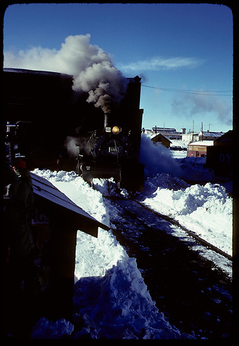 Front end view of K-36 #487 coming out of the Chama roundhouse.<br /> C&amp;TS  Chama, NM  prior to 2/1978