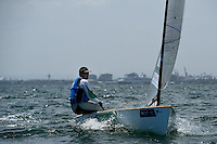 Finn / Oliver Tweddell (AUS)<br /> ISAF Sailing World Cup Final - Melbourne<br /> St Kilda sailing precinct, Victoria<br /> Port Phillip Bay Tuesday 6 Dec 2016<br /> &copy; Sport the library / Jeff Crow