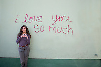 "The ""i love you so much"" mural is a Austin favorite and international tourist attraction and Austin's most famous landmark mural - Stock Image."