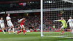 Arsenal's Alexis Sanchez scoring his sides opening goal during the Premier League match at the Emirates Stadium, London. Picture date: May 16th, 2017. Pic credit should read: David Klein/Sportimage