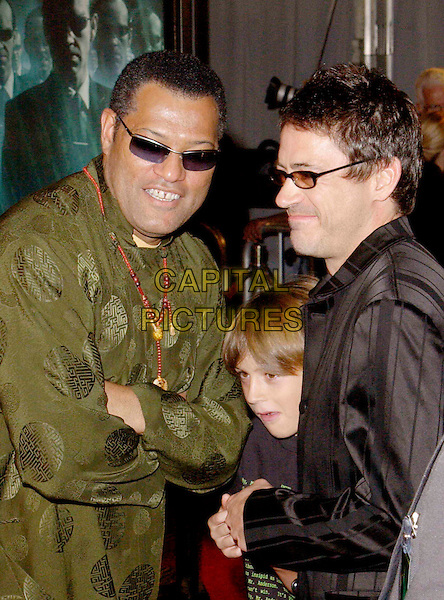 LAURENCE FISHBURNE & ROBERT DOWNEY JR..attends the Warner Brothers L.A. Premiere of The Matrix Revolutions held at The Walt Disney Concert Hall. .www.capitalpictures.com.sales@capitalpictures.com.©Capital Pictures.
