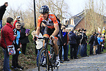 Taco Van Der Hoorn (NED) Roomport-Nederlandse Loterij climbs Oude Kwaremont during the 60th edition of the Record Bank E3 Harelbeke 2017, Flanders, Belgium. 24th March 2017.<br /> Picture: Eoin Clarke | Cyclefile<br /> <br /> <br /> All photos usage must carry mandatory copyright credit (&copy; Cyclefile | Eoin Clarke)