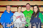 Wayne Doyle Killorglin, Ruth Concannon Tralee, Fergus McCarthy Castleisland and Elaine Hudson Moyvane who represented Kerry in the Munster Badminton Championships in Killarney on Sunday..
