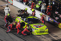 Nov. 8, 2009; Fort Worth, TX, USA; NASCAR Sprint Cup Series driver Mark Martin pits during the Dickies 500 at the Texas Motor Speedway. Mandatory Credit: Mark J. Rebilas-