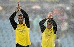 Zaragoza's Juanfran Garcia and Alberto Zapater salute under the rain after Spain's La Liga match between Getafe and Zaragoza at Coliseum Alfonso Perez stadium in Getafe, Sunday April 01, 2007. (ALTERPHOTOS/Alvaro Hernandez).