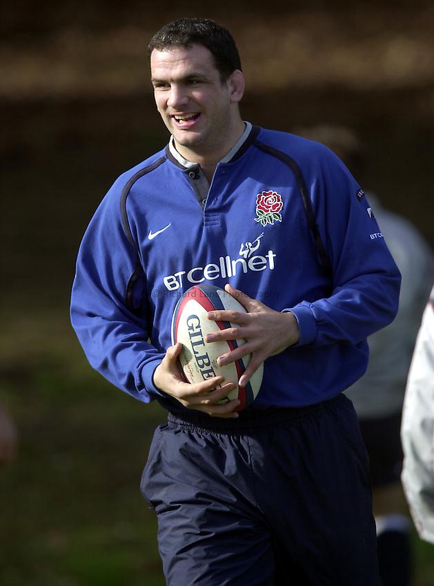 Photo. Richard Lane. .England Squad Training at Pennyhill Hotel, Bagshot. 27-2-2002.Martin Johnson.