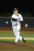 Wake Forest Demon Deacons relief pitcher Antonio Menendez (27) delivers a pitch to the plate against the Florida State Seminoles at David F. Couch Ballpark on March 9, 2018 in  Winston-Salem, North Carolina.  The Seminoles defeated the Demon Deacons 7-3.  (Brian Westerholt/Four Seam Images)