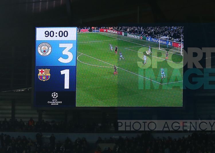 Score board at 90 minutes during the Champions League Group C match at the Etihad Stadium, Manchester. Picture date: November 1st, 2016. Pic Simon Bellis/Sportimage