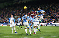 West Ham United's Issa Diop challenges Huddersfield Town's Steve Mounie and Mathias Zanka Jorgensen<br /> <br /> Photographer Rob Newell/CameraSport<br /> <br /> The Premier League - Huddersfield Town v West Ham United - Saturday 10th November 2018 - John Smith's Stadium - Huddersfield<br /> <br /> World Copyright © 2018 CameraSport. All rights reserved. 43 Linden Ave. Countesthorpe. Leicester. England. LE8 5PG - Tel: +44 (0) 116 277 4147 - admin@camerasport.com - www.camerasport.com