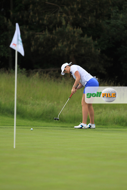 Olivia Mehaffey on the 3rd green during the Friday morning Foursomes of the 2016 Curtis Cup at Dun Laoghaire Golf Club on Friday 10th June 2016.<br /> Picture:  Golffile | Thos Caffrey