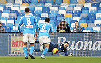 14th January 2020; Stadio San Paolo, Naples, Campania, Italy; Coppa Italia Football, Napoli versus Perugia; Goalkeeper David Ospina of Napoli saves the penalty from Pietro Iemmello of Perugia in the 45th minute - Editorial Use