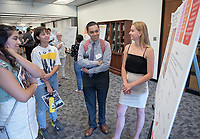 """Multisensory Processing and Sequence Learning"" by Kirsten Laursen<br /> (Mentor: Carmel Levitan, Cognitive Science)<br /> Occidental College's Undergraduate Research Center hosts their annual Summer Research Conference, Aug. 1, 2018. Student researchers presented their work as either oral or poster presentations at the final conference. The program lasts 10 weeks and involves independent research in all departments.<br /> (Photo by Marc Campos, Occidental College Photographer)"