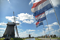 Windmills and Dutch flags in The Netherlands The Netherlands
