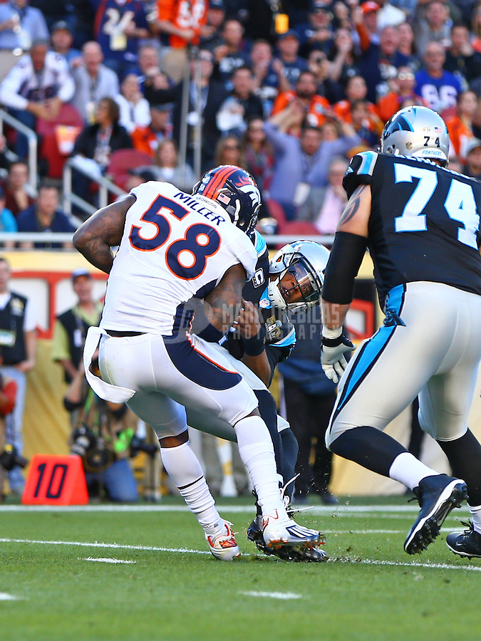 Feb 7, 2016; Santa Clara, CA, USA; Denver Broncos outside linebacker Von Miller (58) forces Carolina Panthers quarterback Cam Newton (1) to fumble, resulting in a Broncos touchdown in the first quarter in Super Bowl 50 at Levi's Stadium. Mandatory Credit: Mark J. Rebilas-USA TODAY Sports