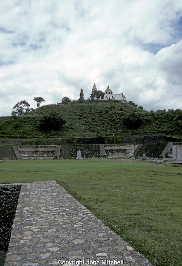 Patio de los Altares with the Tepanapa Pyramid and Los Remedios church in the background, Archaelogical Zone, Cholula, Puebla, Mexico
